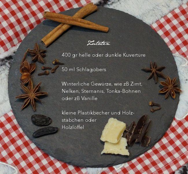 Zutaten der Trink-Winterschokolade