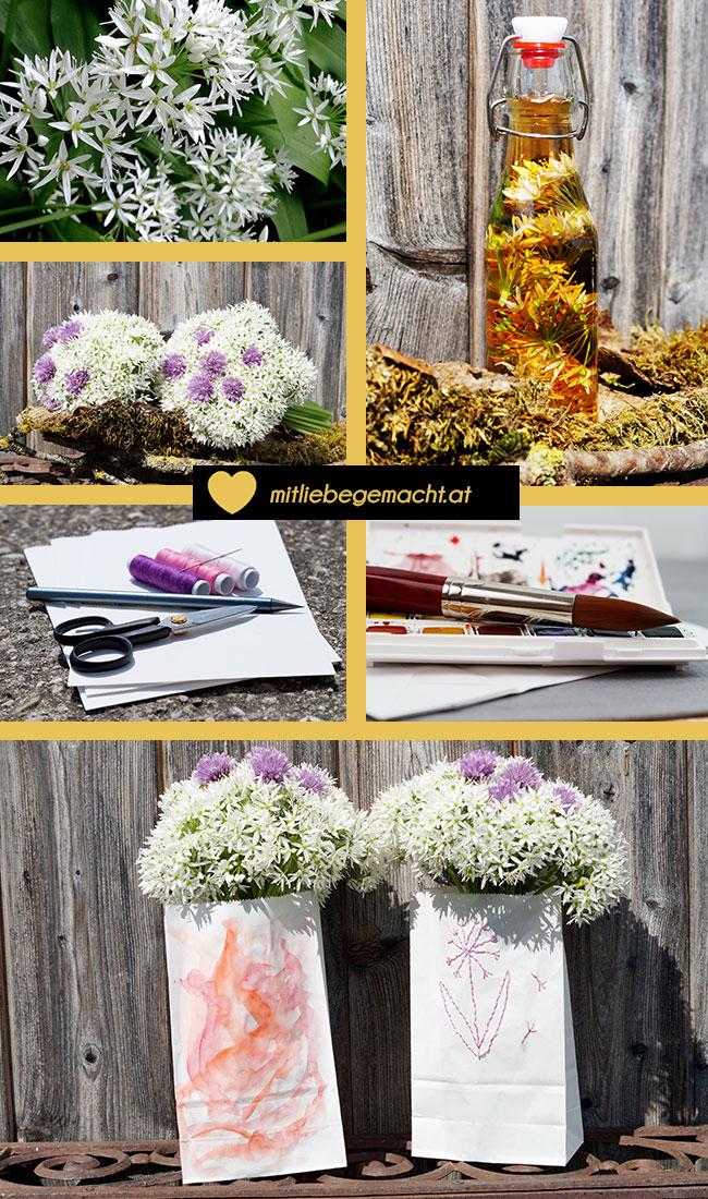Bärlauchblütenessig und Sträusse aus den Blüten