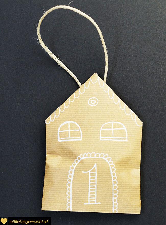 Adventskalender basteln - Haus Nr.1
