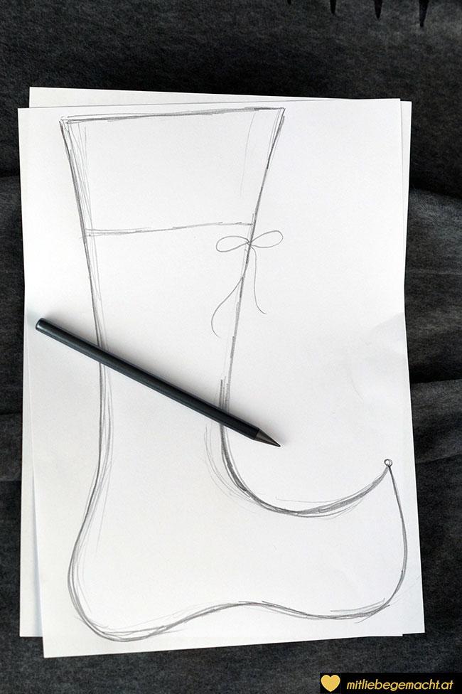 Vorlage für Nikolausstiefel zeichnen
