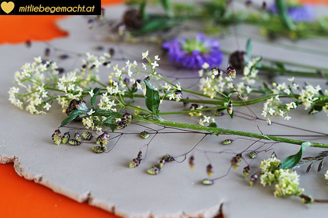 Gräser und Blüten auflegen