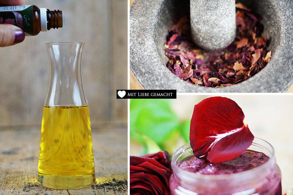 sinnliches Rosenpeeling und Massageöl selber machen - Naturkosmetik selber machen