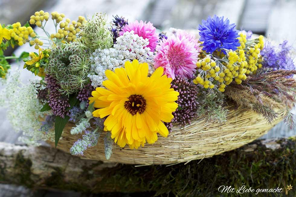 Kräuter und Blüten für den Kranz