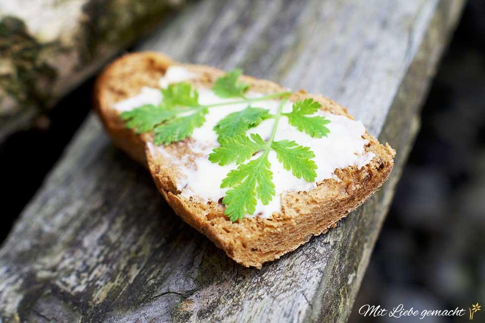 Butterbrot mit Mutterkrautblätter
