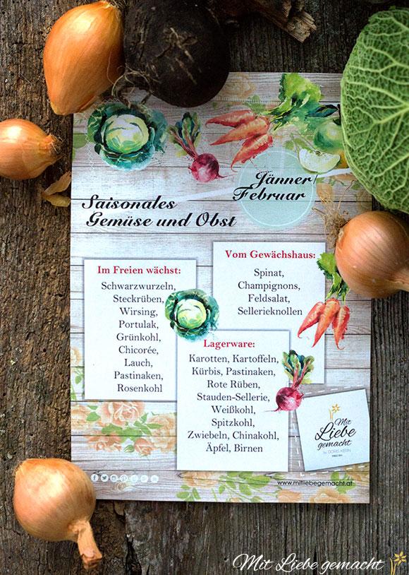 Auf saisonales Gemüse und Obst achten!