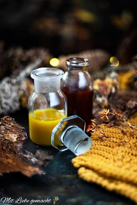 Harzöl und Johanniskrautöl vorbereiten