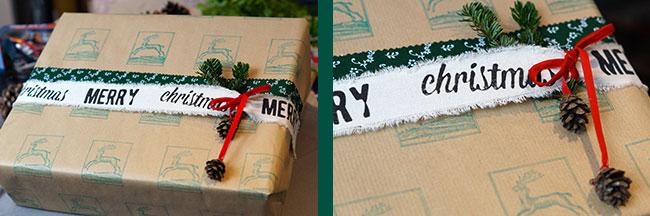 Geschenkpapier bestempelt und mit zwei Stoffbordüren verschönert