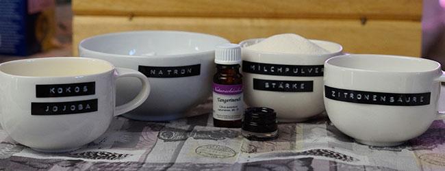 Zutaten Sprudelbadepralinen - natürliche Zutaten für natürliche Kosmetik