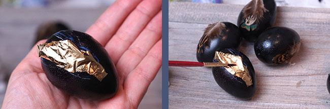 Eier mit Blattgold bekleben