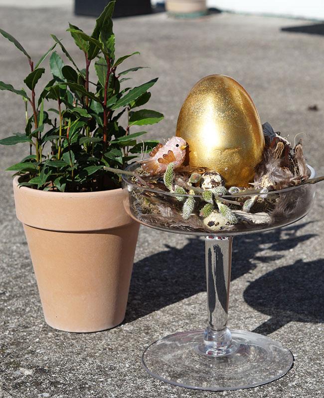 Osterdeko Glasteller/Vase