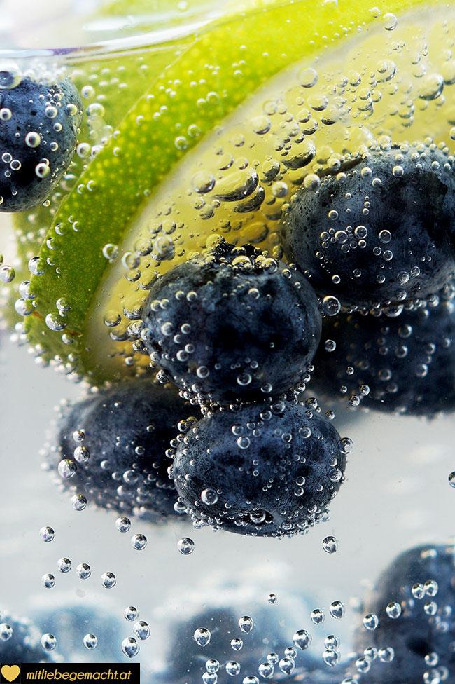 Heidelbeere Limetten Wasser