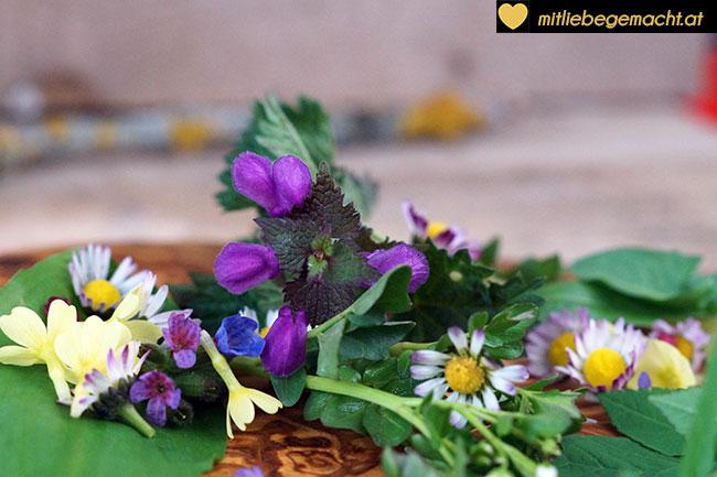 frische wilde Kräuter und Blüten