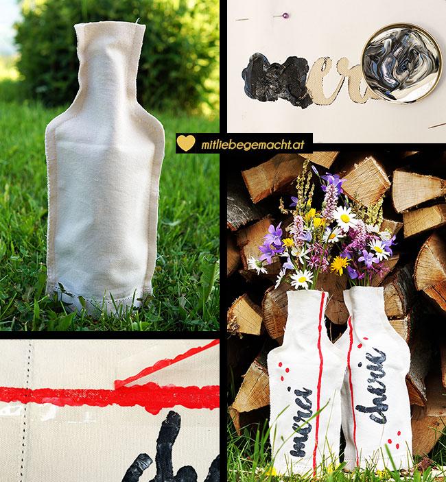 Upcycling Idee: aus einer Weinflasche und einem Stück Stoff entsteht eine neue Vase