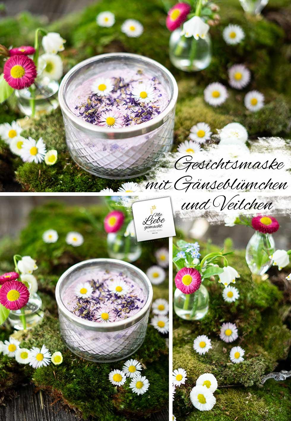 Blütengesichtsmaske mit Gänseblümchen und Veilchen