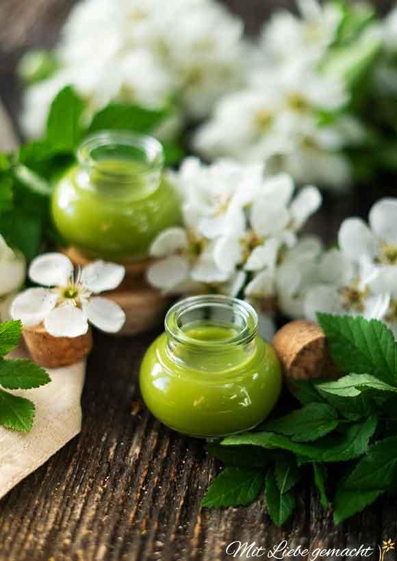 Gierschsalbe selbermachen, Grüne Salbe in Glas, Gierschblätter und weiße Blüten
