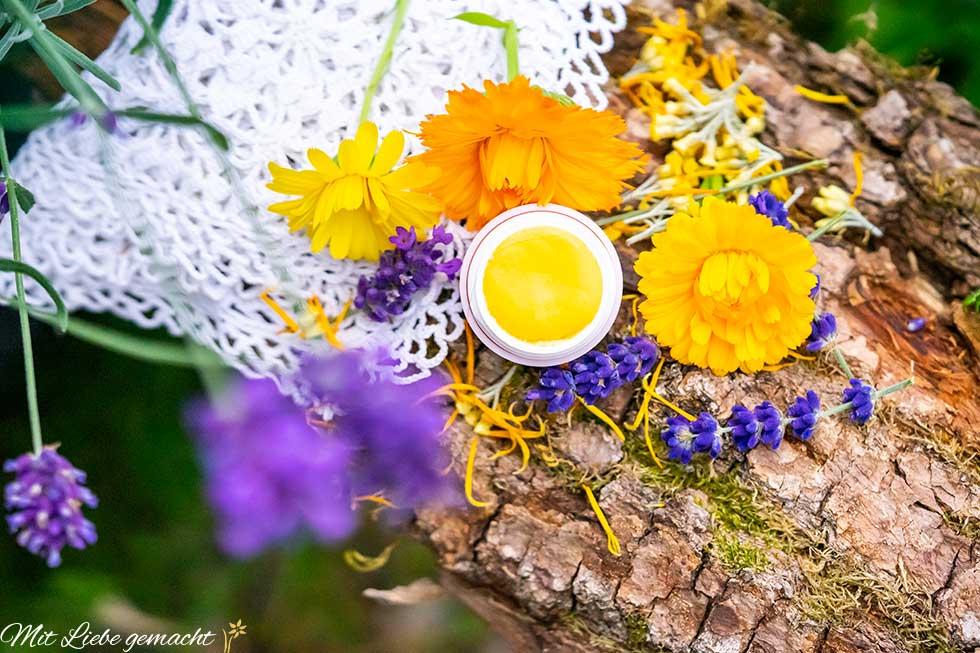 Lippenbalsam mit Lavendel, Ringelblumen auf Holzhintergrund, pflegende Naturkosmetik aus dem eigenen Garten
