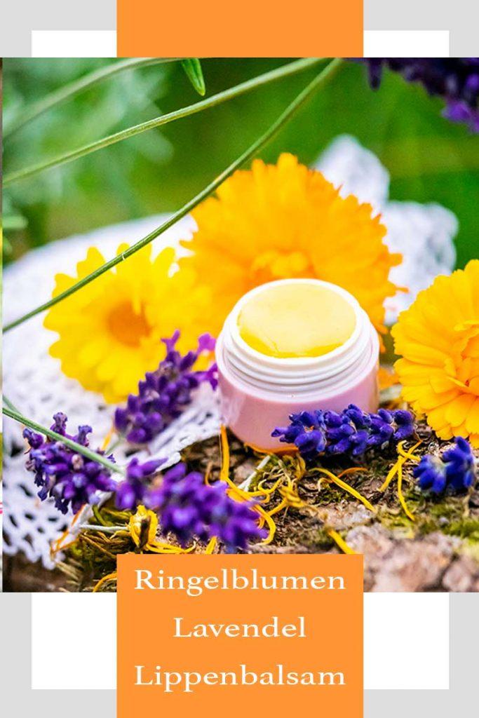 Lippenbalsam mit Lavendel und Ringelblume