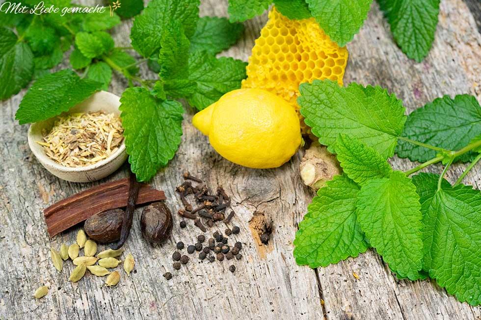 Zutaten für den Melissengeist, wie Zitronenmelisse, Zitrone, Ingwer, Alantwurzel, Engelwurz, Muskat, uvm. Feine Kräuter für Hausmittel.