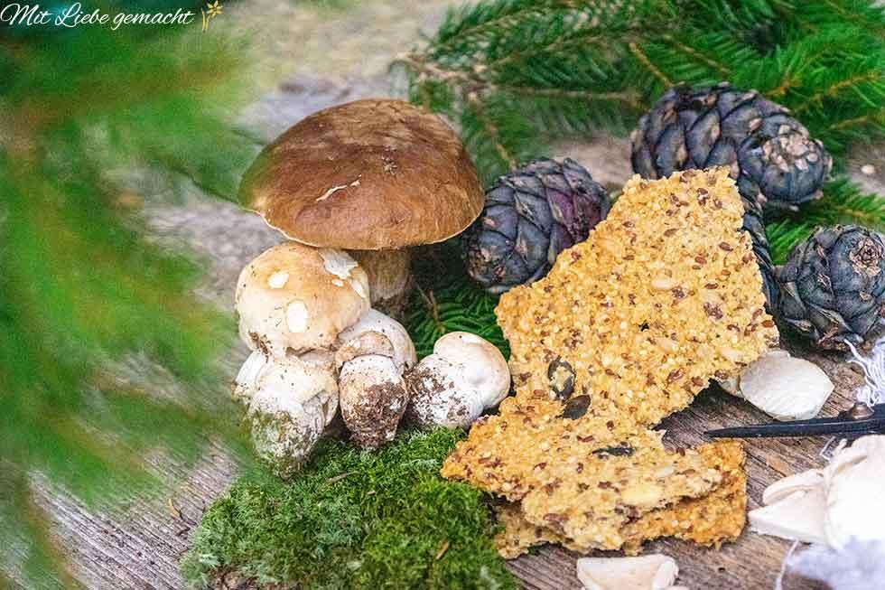 Knäckebrot, Pilze, Zweige und Zapfen - Waldgenuss