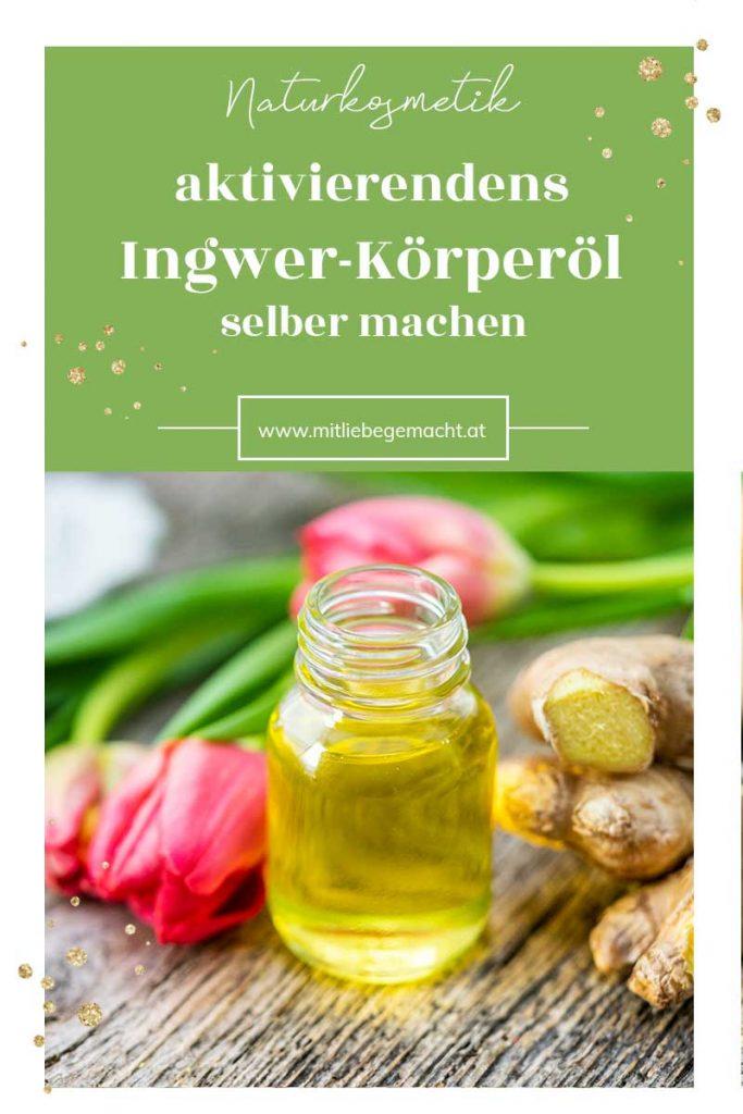 Flasche mit Öl, Ingwer und Tulpen